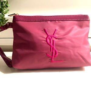 💝 YSL !! last one!! 💝 pink nylon logo Wristlet